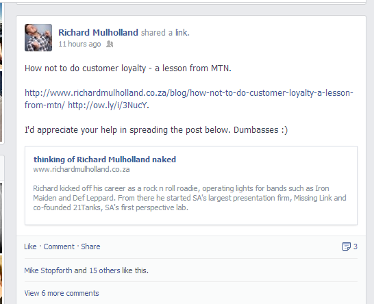 Richard's Facebook post